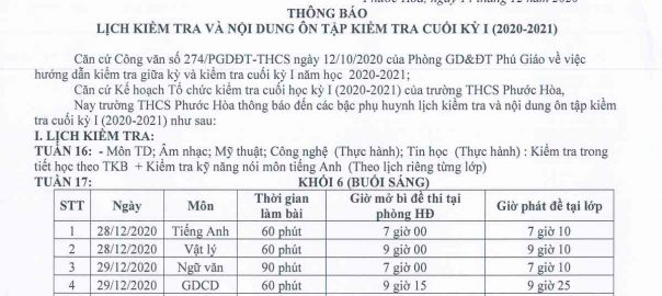 Lịch thi HK1 khối 61