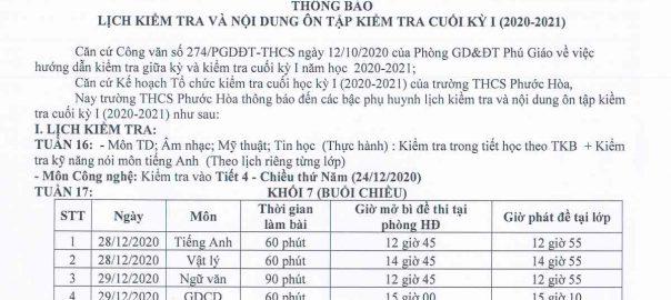 Lịch thi HK1 khối 71